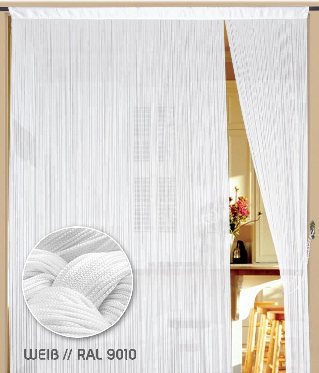 Fadenvorhang 90 cm x 200 cm in weiß