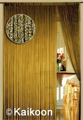 Fadenvorhang 150 cm x 300 cm gold glänzend (BxH)