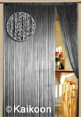 Fadenvorhang 150 cm x 300 cm silber glänzend (BxH)