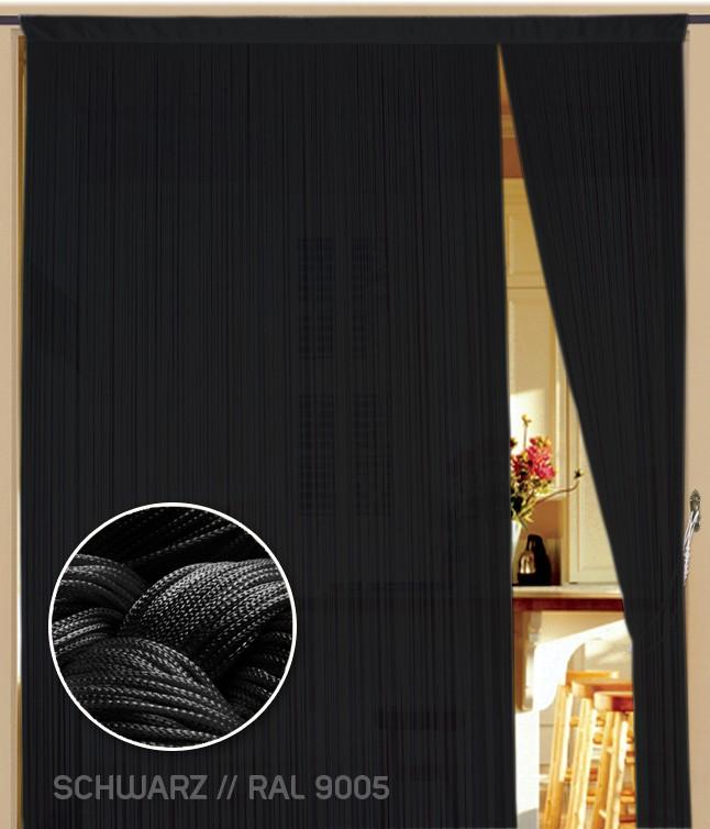 Fadenvorhang 090 cm x 240 cm (BxH) schwarz