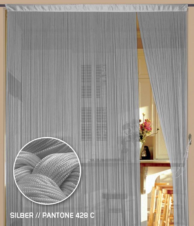 Fadenvorhang 150 cm x 500 cm (BxH) silber